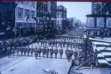 147th Field Artillery soldiers marching in Service Day parade on Phillips Avenue. Photograph. May...